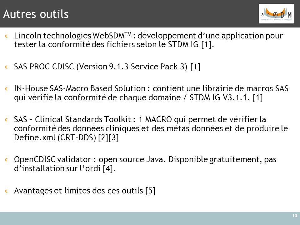 Autres outils Lincoln technologies WebSDMTM : développement d'une application pour tester la conformité des fichiers selon le STDM IG [1].